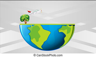 earth carrying several plants, buildings and vehicles on ...