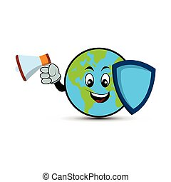 Earth character cartoon with megaphone and shield. Design template vector