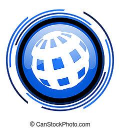 earth circle blue glossy icon