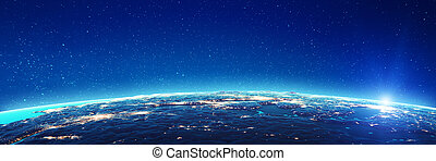 Earth city lights glow. Elements of this image furnished by ...