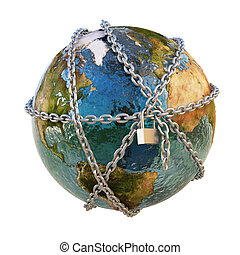 earth clad in steel chains under the padlock. isolated on white.