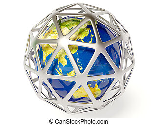 earth in cage on white