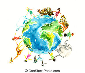 Earth - Children and animals around the earth.