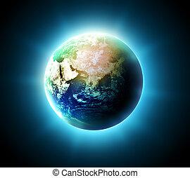 earth - blue shining world on a dark background