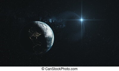Earth close up orbit starry deep space overview - Earth...