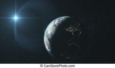 Earth close up reverse orbit deep space sight - Earth Close...