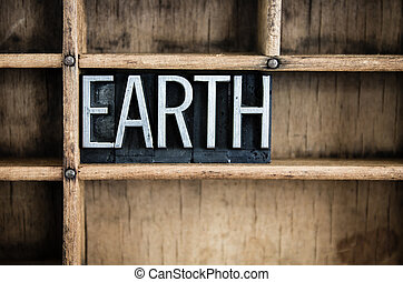 Earth Concept Metal Letterpress Word in Drawer