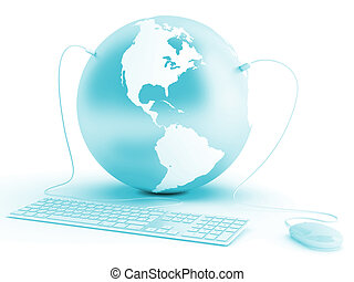 earth connected with keyboard and mouse on white background