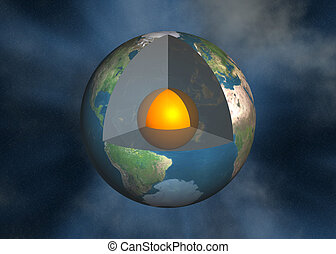 Earth core, magma - 3D render, illustration of the earth ...