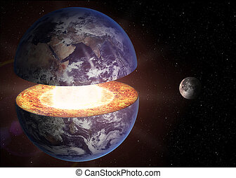 Earth core structure. Elements of this 3d image furnished by...