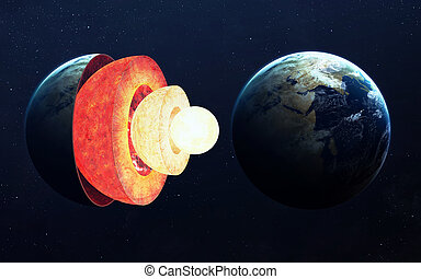 Earth core structure. Elements of this image furnished by NASA