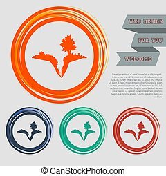 Earth crack, split in  icon on the red, blue, green, orange buttons for your website and design with space text. Vector
