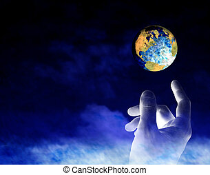 Earth Creation - A conceptual image of God creating the...