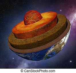 earth cross section in the space, 3d illustration