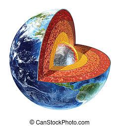 Earth cross section. Inner core version. - Earth cross...