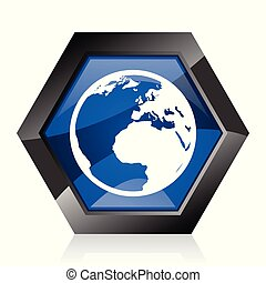 Earth dark blue glossy hexagon geometric diamond vector web icon with reflection on white background. Modern design hexagonal internet button.