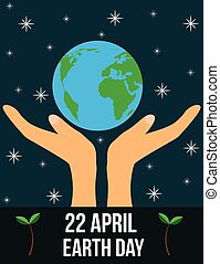 Earth Day 22 of April Hands Holding Planet Flat Style