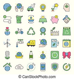 Earth day and ecology filled outline icon, saving energy, water and recycle concept