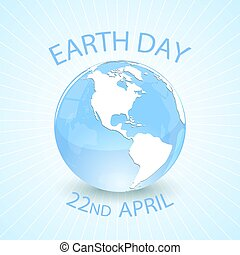 Earth day and globe on blue background