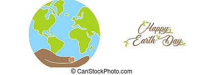 Earth Day banner of hand holding green planet