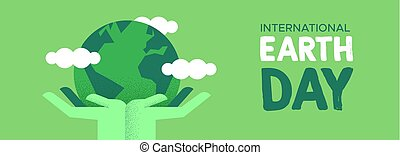 Earth Day banner of hands holding green planet