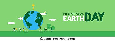 Earth Day banner of people celebration