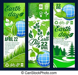 Earth Day banner with eco planet and green leaf