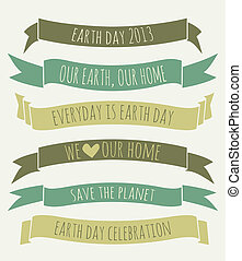 Earth Day Banners Collection - A set of green banners for...
