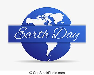 Earth day, blue planet isolated on a white background. Vector illustration