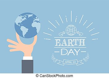 Earth Day Business Man Hand Hold Globe Flat