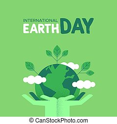 Earth Day card of human hands holding green planet