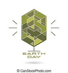 Earth day card with the image of a stylized tree