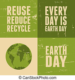 Earth Day Cards Collection - A set of four posters for Earth...
