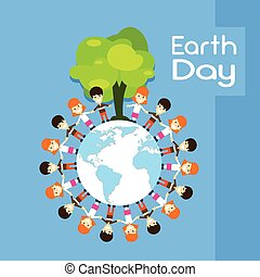 Earth Day Children Group Stand Around Globe