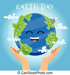 Earth day concept. Human hands holding floating globe in space. Save our planet.
