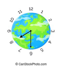 Earth Day concept. Planet with clock face and clock hands. Stock vector illustration isolated on white background in flat style.