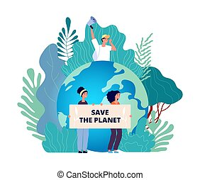 Earth day concept. Save planet, group with posters. Nature, international eco volunteering. Environment protection vector concept