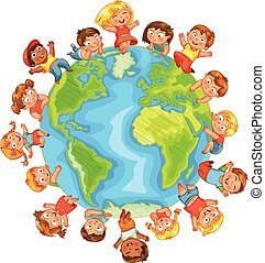 Earth Day. Cute little kids. Vector illustration