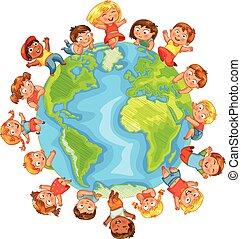 Earth Day. Cute little kids. Vector illustration
