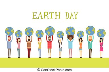 Earth Day Diverse People Group Hold Globe World Flat Vector...