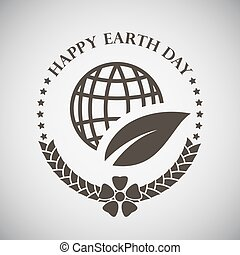 Earth Day Emblem - Earth day emblem with planet and leaf....