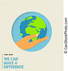 Earth day environment care paper cut illustration