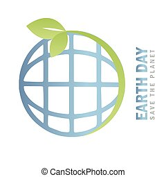 earth day environmentalism symbol with green leaves vector ...