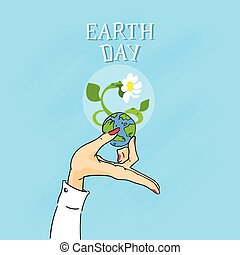 Earth Day Female Hands Hold Globe