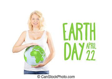 Earth day - girl protecting the globe