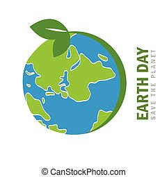 earth day globe environmentalism symbol with green leaves ...