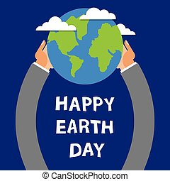 Earth Day, globe in the hands of