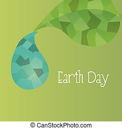 earth day - green background with low poly elements. Earth...