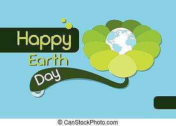 Earth Day Green Flower Globe World Flat