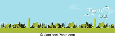 Earth Day Green Forest Tree Nature Landscape Background Flat...